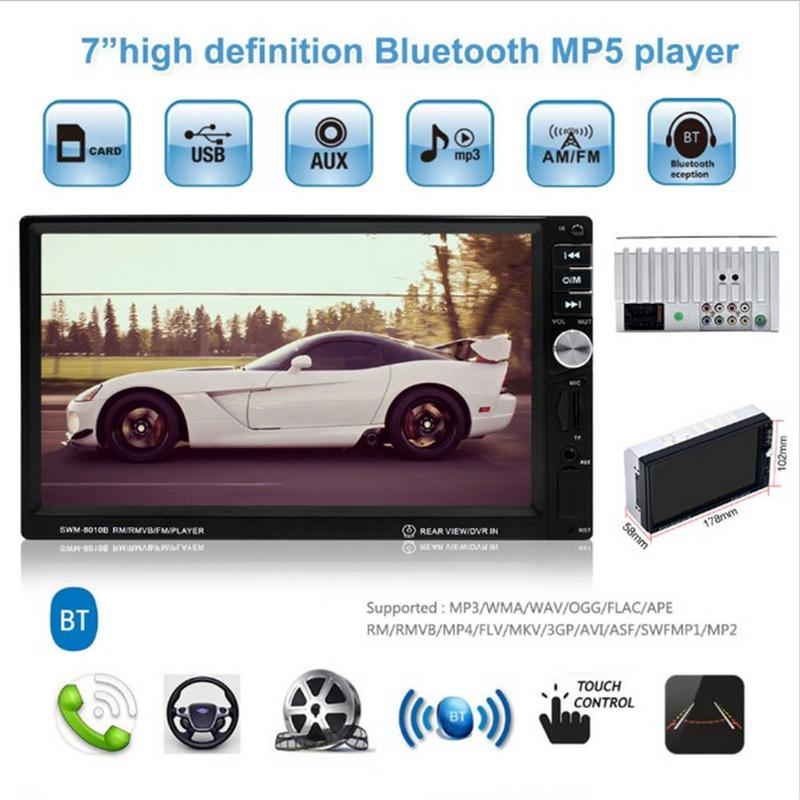 7 In Car Multimedia Player HD Touch Screen Car Audio MP4 MP5 Player FM Radio Bluetooth Hands-free Calls Steering Wheel Control