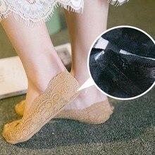 Anti-Slip Lace Boat Socks Summer women girl Silica Gel Invisible Cotton Sole Non-slip Antiskid Slippers