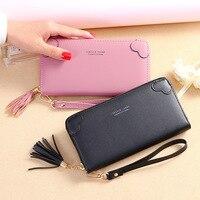 New 2019 ladies wallet Japanese and Korean version of the simple tassel long zipper multi card large capacity hand held wallet