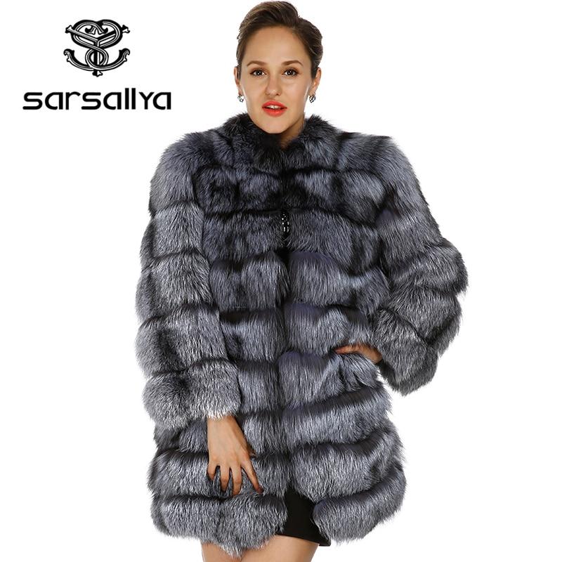 SARSALLYA 2016 nouveau réel renard manteau de fourrure de vison manteaux femmes veste d'hiver femmes Livraison gratuite manteau de fourrure véritable