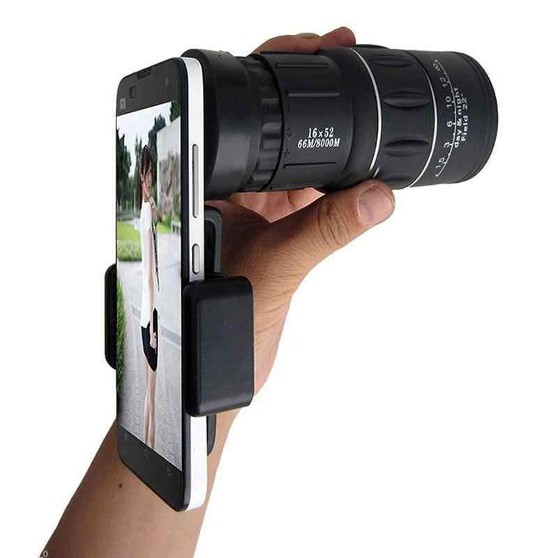 16x52 High Power HD Monocular Telescope Lens Dual Focus Prism Scope Universal Smartphone Mount Proof Compact 16X Zoom r25