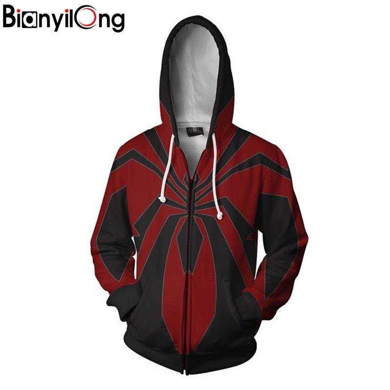 2019 New Men Women Hooded Avengers Spiderman 3d Printed Hoodies Spider -Man Miles Morales Redesign Zip Up Hoodie