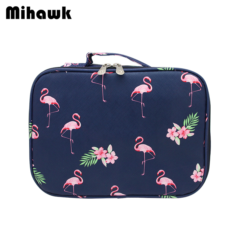 Detail Feedback Questions about Mihawk Flamingo Cosmetic Bags Women s  Portable Makeup Case Box Wash Beautician Necessary Girls Travel Toiletry  Accessories ... 2c116238e6da6
