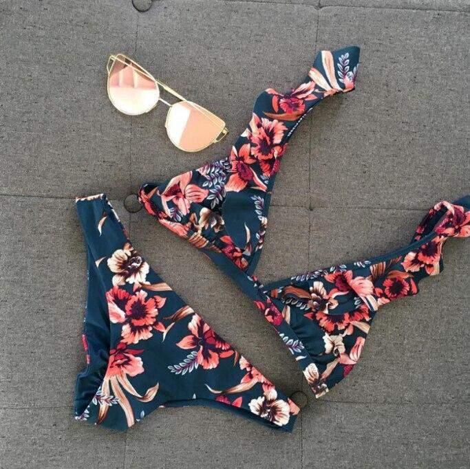 2019 deux-pièces femmes Floral push-up rembourré soutien-gorge à volants Bandage Bikini ensemble Triangle maillot de bain maillot de bain maillot de bain plage