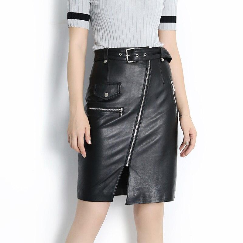 A taille Black High Schafe L line Wrap Gesäß 2019 Leder Neue Y005 Slit Herbst Rock FxzwYqSzg