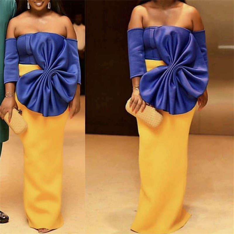 Women Sexy Backless Maxi Dress Big Bowtie Blue Yellow Contrast Color Celebrate Party Bodycon