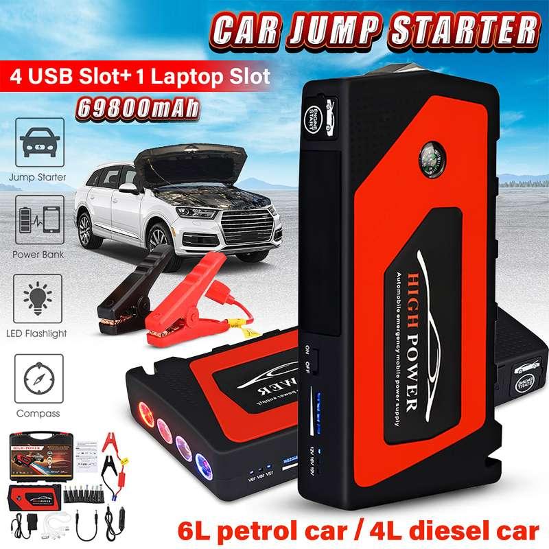 Voiture saut démarreur d'urgence 69800 mAh 12 V dispositif de démarrage 4USB SOS lumière Mobile batterie externe chargeur de voiture pour voiture batterie Booster LED