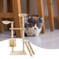 60 inch Solid Cute Sisal Rope Plush Cat Climbing Tree Cat Tower Beige