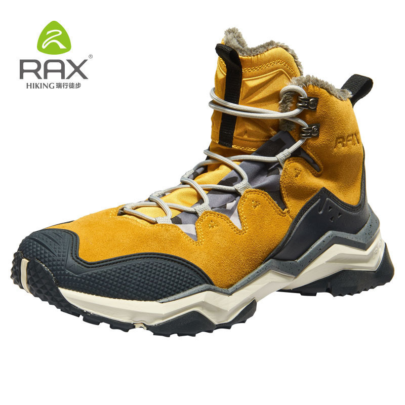 RAX Hiking Boots Men Waterproof Winter Snow Boots Fur lining Lightweight Trekking Shoes Warm Outdoor Sneakers Mountain Boots Men men winter boots plush warm hiking boots outdoor tactical trekking shoes men genuine leather waterproof ankle boots men sneakers