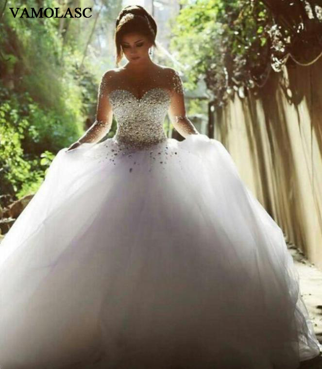VAMOLASC Luxury Crystal Sweetheart Tulle Ball Gown Wedding Dresses Illusion Long Sleeve Court Train Backless Bridal Gowns in Wedding Dresses from Weddings Events