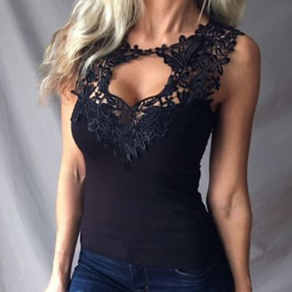 Women's Boho   Tank     Tops   Vest Sleeveless Loose Summer Beach Casual T-Shirts Fashion Lace Tees Sexy Lady   Tank     Tops   White Black