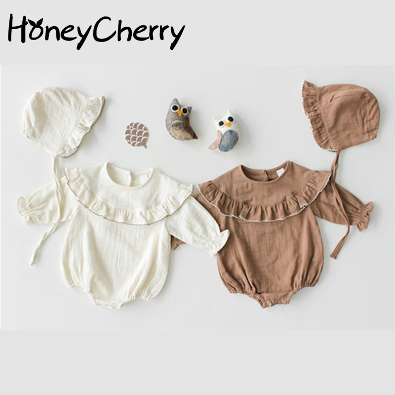 2020 Spring Baby Bodysuits Edition Korean Baby Lotus Leaf Collar Long Sleeved Dress Girl Bag Fart Clothes Climbing Suit