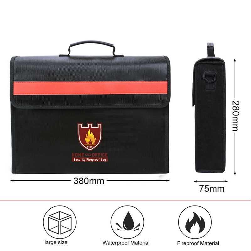 Огнеупорная Сумка для документов не-зуд стекловолокна ткань водонепроницаемый держатель с плечевым ремнем ручка сумка
