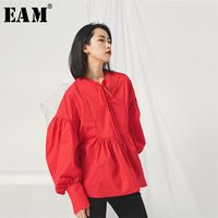 [EAM] 2019 New Spring Summer Stand Collar Long Lantern Sleeve Red Bandage Bow Pleated Loose Shirt Women Blouse Fashion JS67