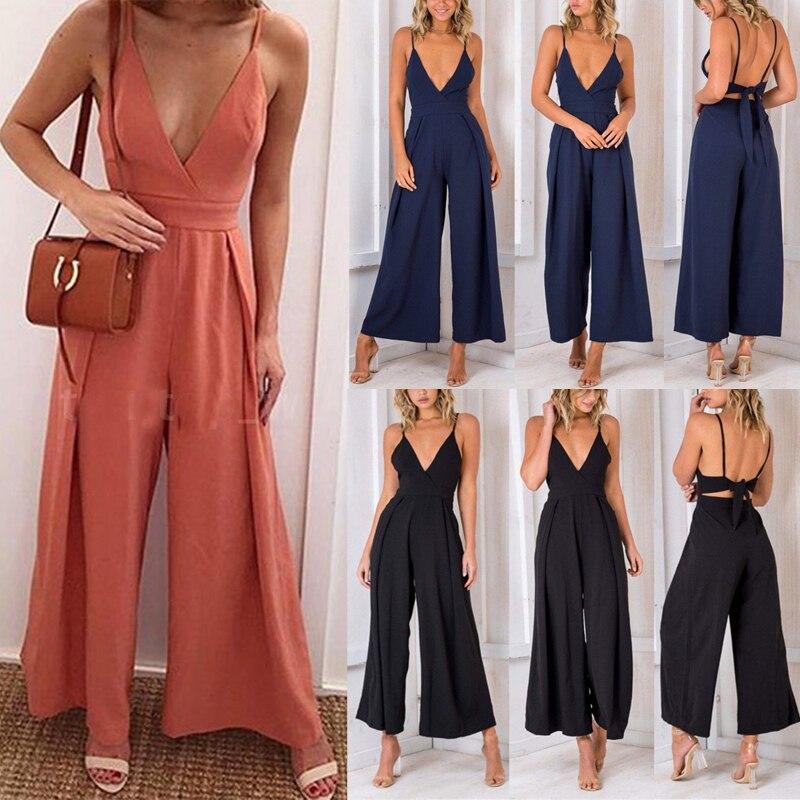 Womens Bobo Chiffon Jumpsuit  Loose Solid Color Casual Playsuit Bodysuit Summer Ladies Jumpsuit Romper Maxi Long Trousers