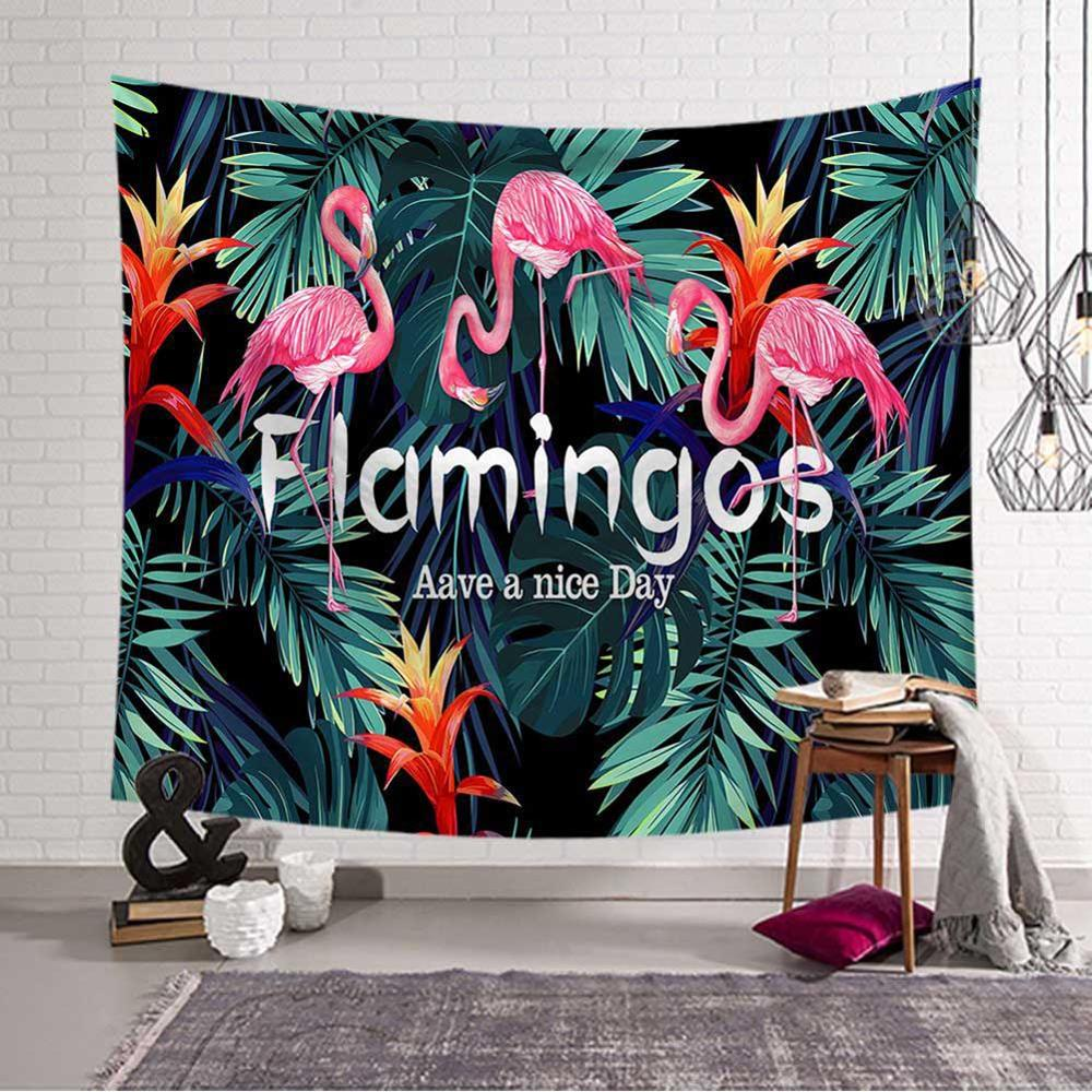 Tropical Leaves Flamingo Pattern Tapestry Art Wall Hanging Decorative Wedding Party Decor Bedspread Beach Towel Yoga Picnic Mat