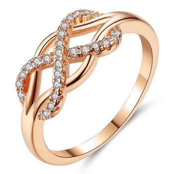 Beiver New Cubic Zirconia Crystal Infinite Rings For Women Fashion Design Statement Rose Gold Color Ring Wedding Jewelry 4