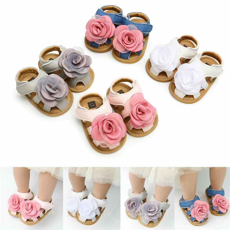US Fashion Baby Girl Flowers Crib Prewalkers Summer Sandals Princess Shoes 0-18M