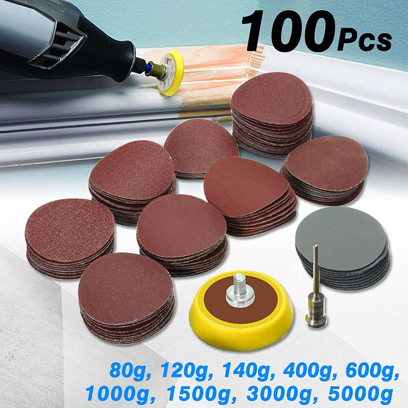 100Pcs One Set 1 Inch Hook Loop Sanding Disc Sandpaper Backer Pad+1/8 Inch Shank Drill Adapter