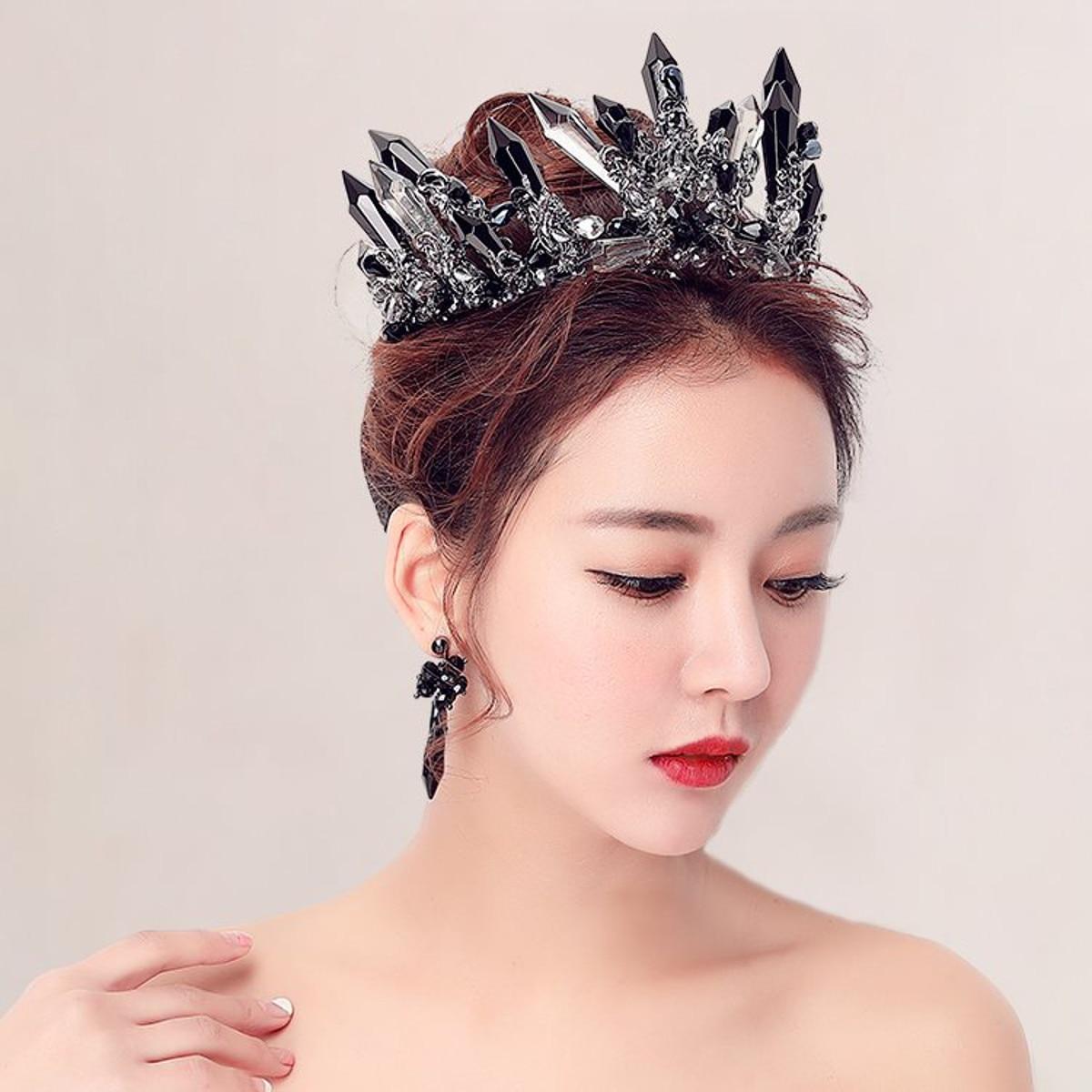 Black Wedding Hairstyles With Crown: Luxurious Handmade Black Crystal Wedding Hair Crown Queen