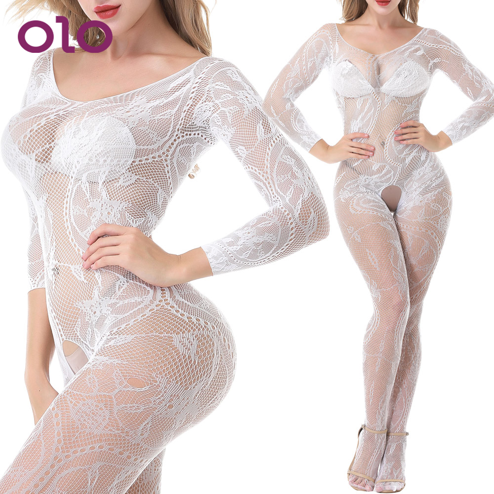 OLO Sexy Lingerie Sexy Sexy Costumes Exotic Apparel Hollow Long Sleeve Open Underwear Catsuit One-piece Pantyhose