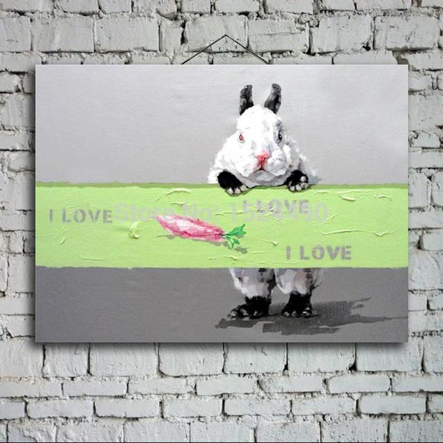 Free Shipping 100% Hand Painted Oil Paintings Picture Panel Lovely Rabbit Animal Oil Painting On Canvas For Home Decoration