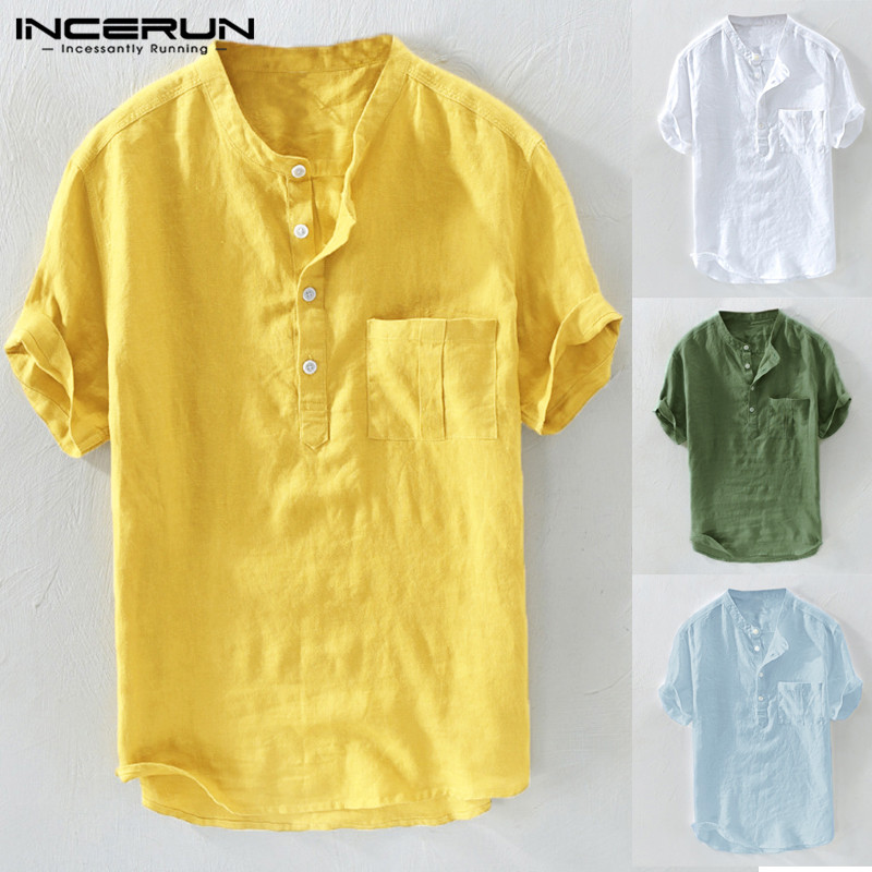 INCERUN 2020 Casual Men Shirt Stand Collar Button Solid Cotton Brand Shirts Men Summer Vintage Short Sleeve Tops Camisa Harajuku