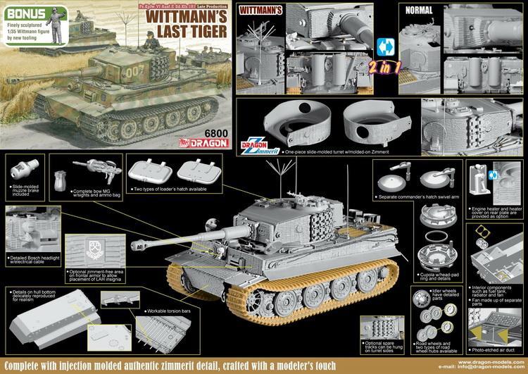 181 Wittmann/'s Last Tiger DRAGON 6800 1//35 Pz.Kpfw.VI Ausf.E Sd.Kfz