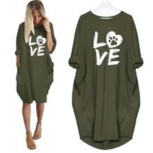 New Fashion For Women LOVE PAW Letters Print Pocket  Harajuku Punk Tumblr Tops Streetwear Japan