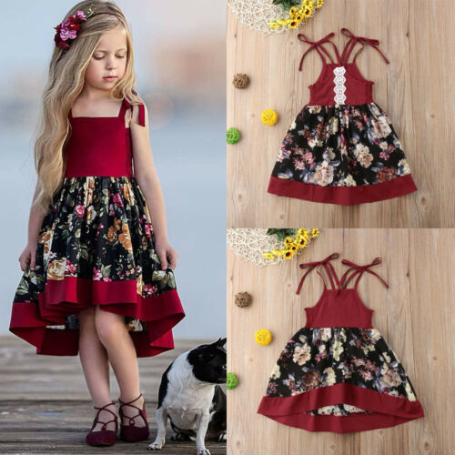 SUmmer Toddler Kids Baby Girls Strap Dress Party Princess Flowers Dress Red Set