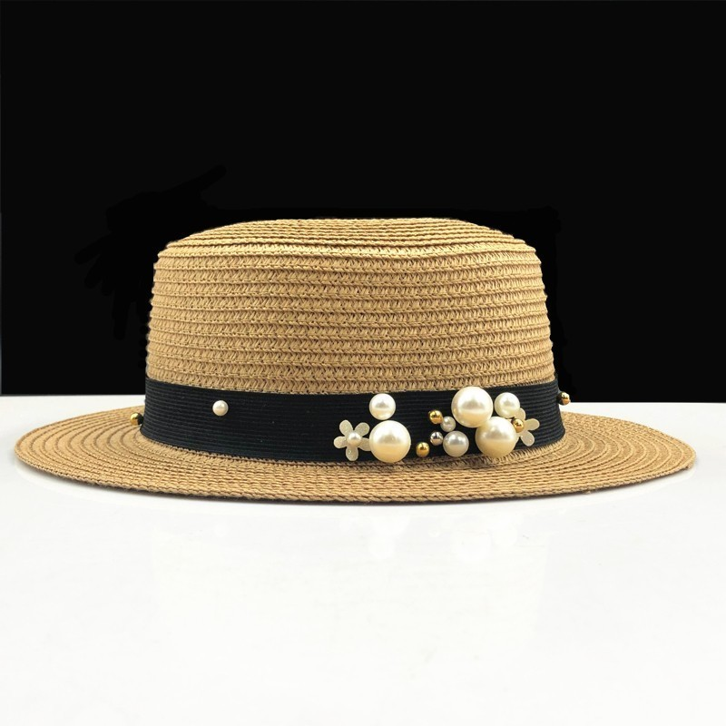 Parent-child Sun Hat Cute Children Sun Hats Pearl Bow Hand Made Women Straw Cap Beach Big Brim Hat Casual Girls Summer Cap C-1