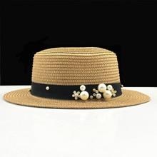 Summer Cap Children Hat Straw-Cap Sun-Hat Pearl Hand-Made Big-Brim Girls Beach Women