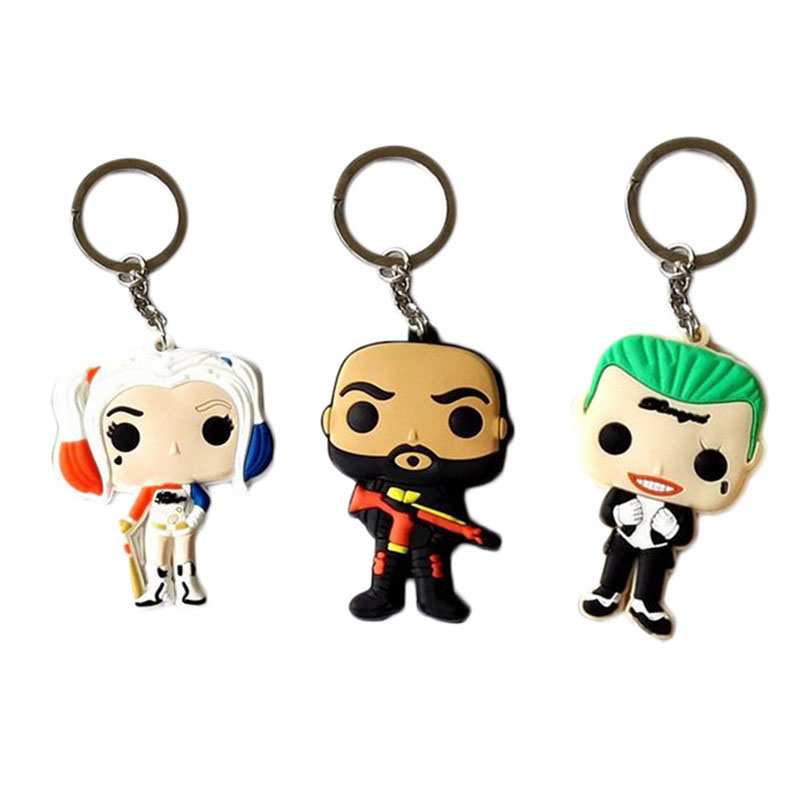 Suicide Squad Keychain  Harley Quinn Christmas Chain Ring Jared Leto The Joker Margot Robbie Will Smith Deadshot Floyd Lawton