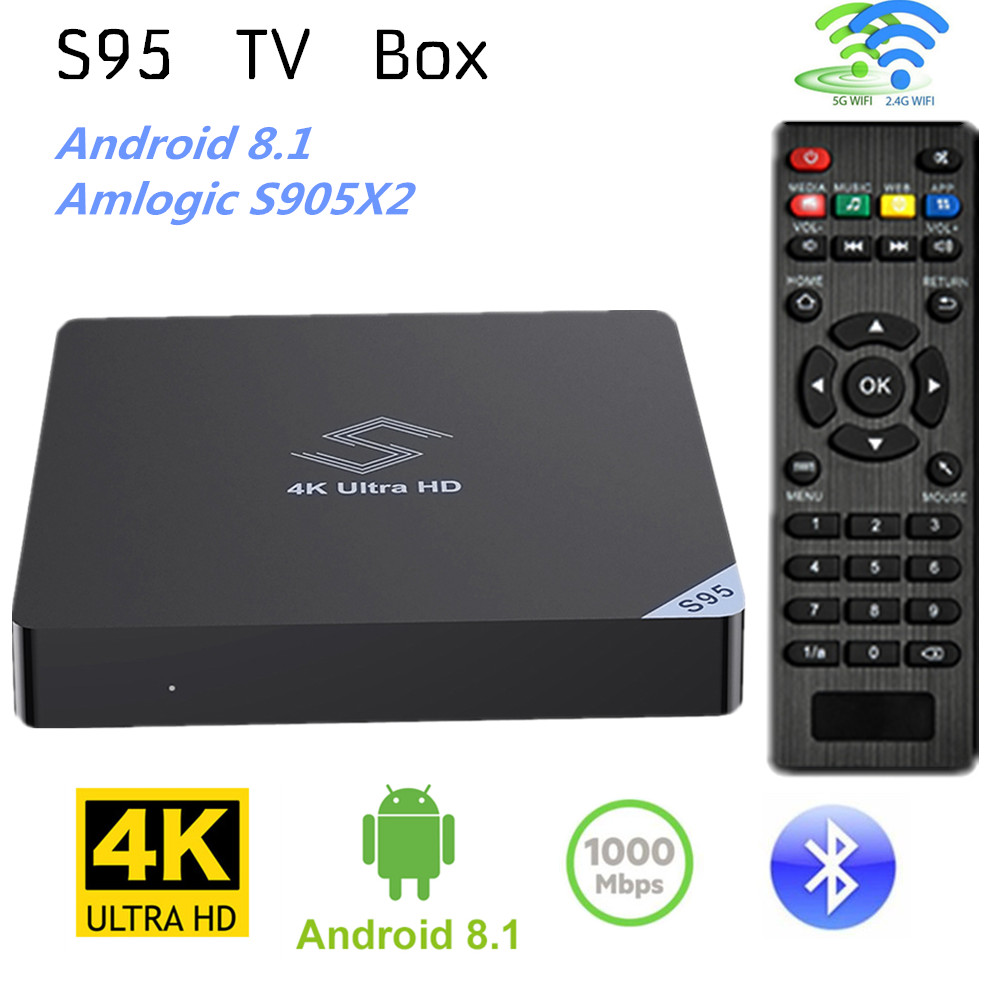 S95 TV Box Android 8.1 Amlogic S905X2 4GB LPDDR4 32GB WiFi BT4.0 Support 4K H.265 Set Top Box 2.4GHz + 5.8 GHz Media PlayerS95 TV Box Android 8.1 Amlogic S905X2 4GB LPDDR4 32GB WiFi BT4.0 Support 4K H.265 Set Top Box 2.4GHz + 5.8 GHz Media Player