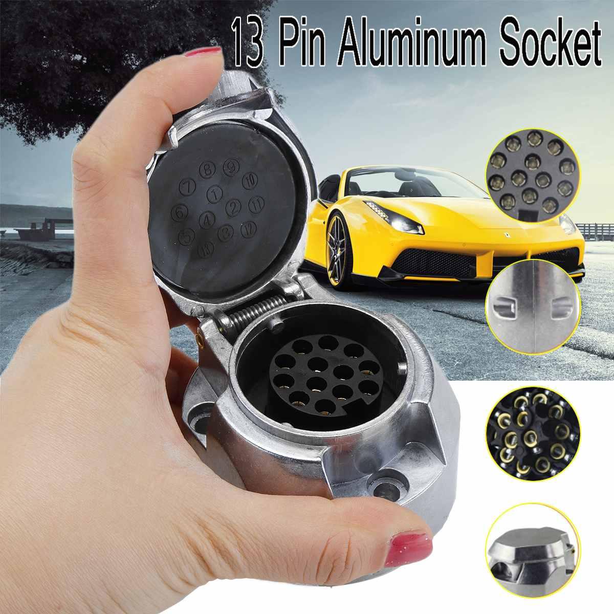 13 Pin European Standard Trailer Socket Aluminum Trailer Socket 12V Towbar Towing Socket For Car Trailer Ship RV