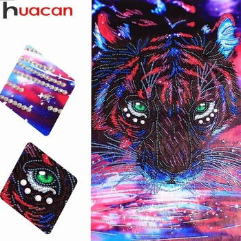 HUACAN Diamond Painting Tiger Special Shaped Diamond Embroidery Picture Of Rhinestones Partial Diamond Mosaic Animal 37x57cm фото