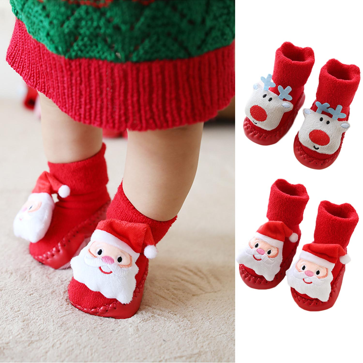 0-24 Months Baby Anti-slip Floor Socks Warm Soft Sole Sock Cartoon Christmas Reindeer Toddler Non Slip Floor Socks Shoes Boots