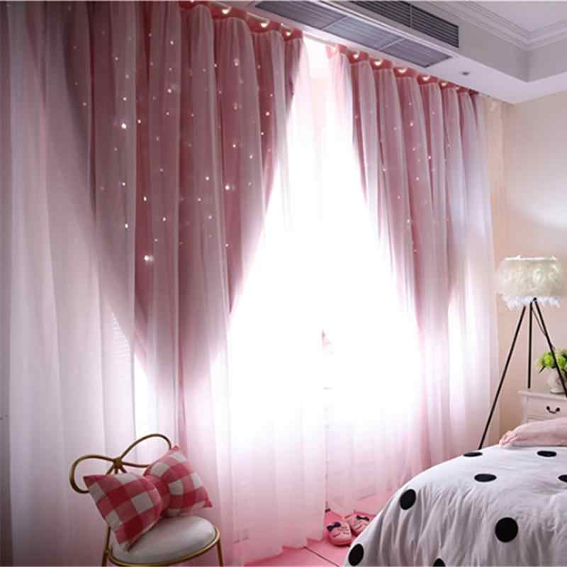 Hollowed Out Star Shading Window Blackout Curtain Drapes Purdah for Living Room Princess Children Room Curtain Baby Kid's Room