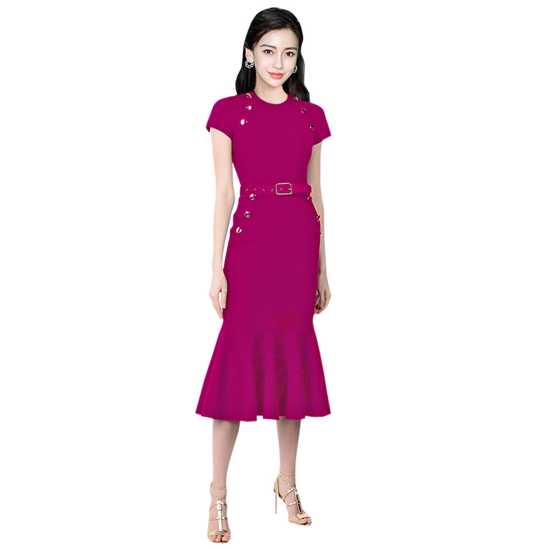 purple black white business dress for women buttons round neck short sleeve slit pockets mermaid ruffle