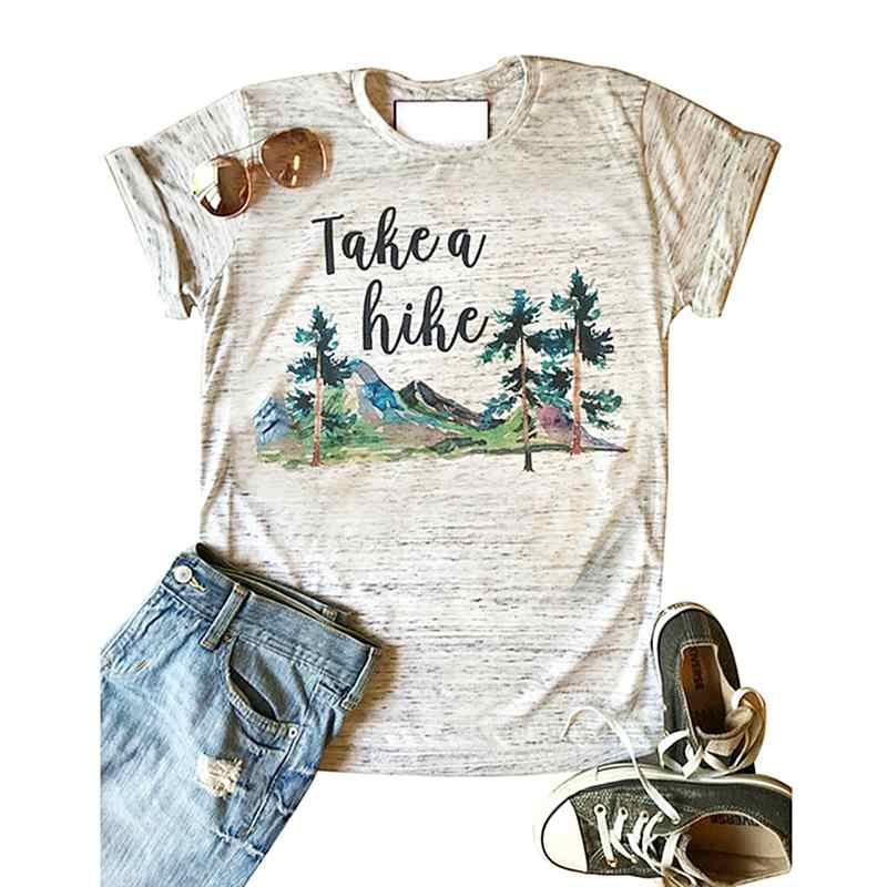 162a1aa8aada52 Detail Feedback Questions about Summer New Fashion Women T Shirt Loose  Casual Tee Take A Hike Letters Printed O Neck Short Sleeve Female Top Tees  on ...