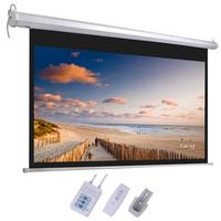 Projector Screen 92 Viewing Area Motorized Wall Mounted Projector Screen With Remote Control Matte 16:9 Anti light Screen