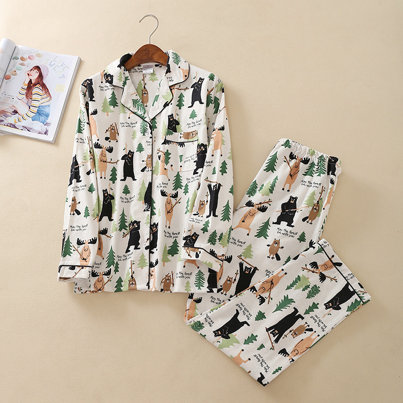 Women's Autumn&Winter Cartoon Cotton   Pajamas   Long Sleeve   Pajama     Set   Trousers Flannel Home Clothes Sexy Sleepwear Pijama Mujer