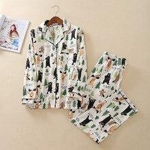 여성 가을/겨울 만화 면화 잠옷 긴 소매 잠옷 세트 바지 플란넬 홈 의류 섹시한 잠옷 pijama mujer
