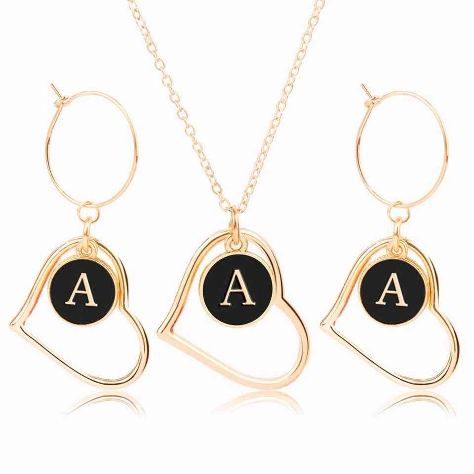 Alphabet A-Z Heart Shaped Earring And Necklace Set Jewelry For Women Trendy Jewelry Sets Romantic Jewelry Female Bijoux