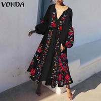 Women Vintage VONDA Maix Long Summer 2019 Dress Plus Size Vestidos Casual Loose Overall Robe Femme Elegant Bohemian Sundress 5XL