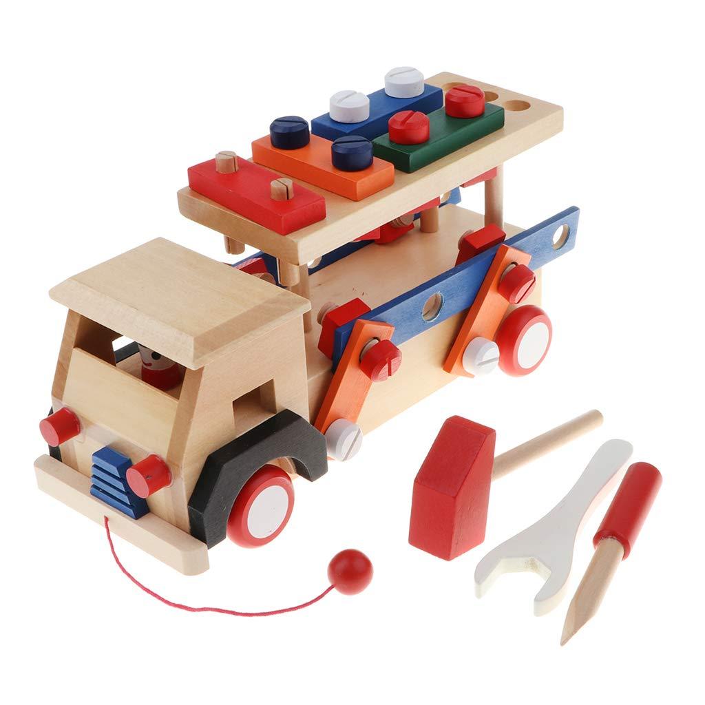 Blocs de Construction en bois jeu de Construction de voiture Coordination œil-main jouets éducatifs cadeau d'anniversaire pour enfants enfants en bas âge