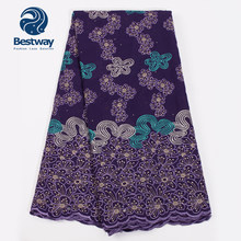 Bestway Nigerian Cotton Material Lace Fabric High Quality Latest Swiss Lace In Switzerland African Fabric Lace Rhinestones Lace(China)