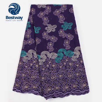 Bestway Nigerian Cotton Material Lace Fabric High Quality Latest Swiss Lace In Switzerland African Fabric Lace Rhinestones Lace - DISCOUNT ITEM  39% OFF All Category