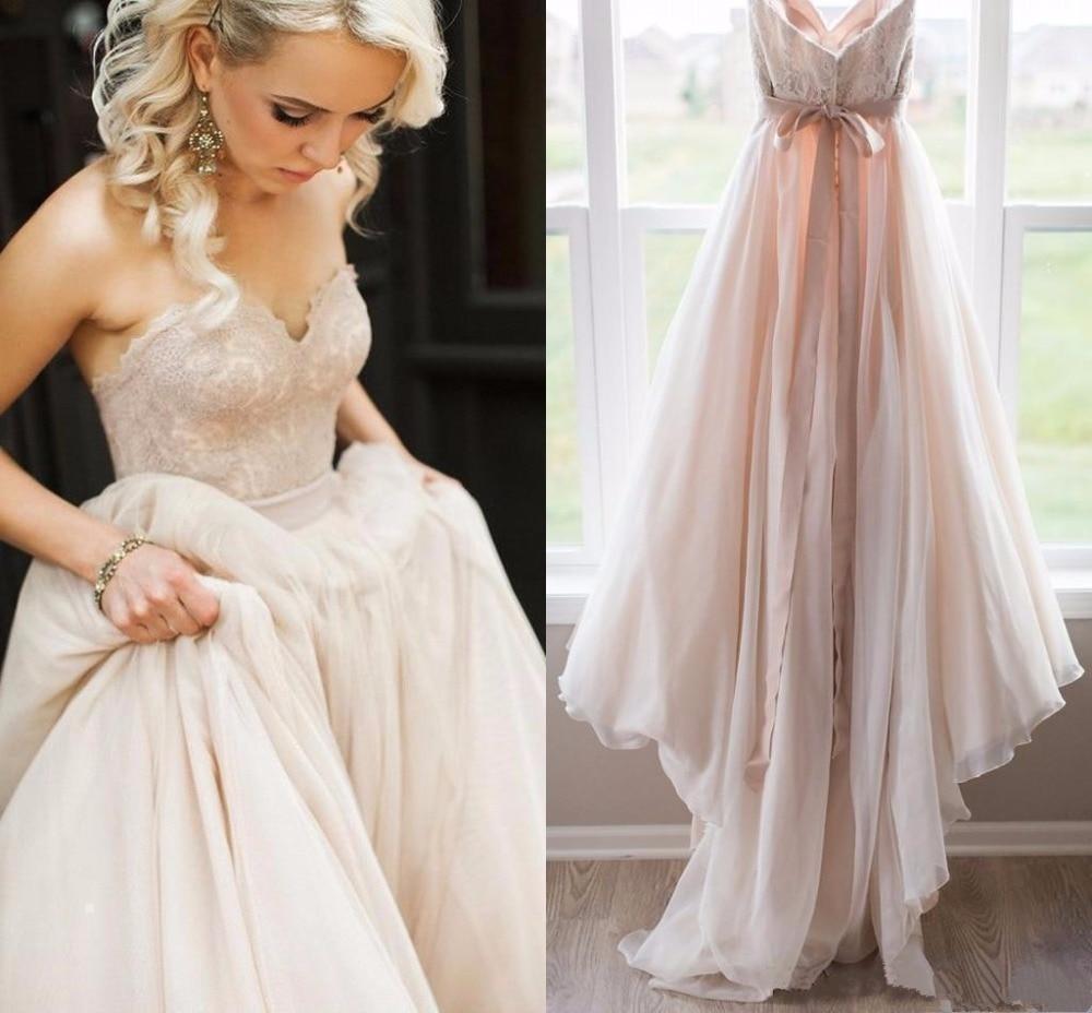 Vintage Lace Top Beach Wedding Dresses Sweetheart Backless Bow Sash Boho Wedding Gowns Robe De Mariage Bridal Dress