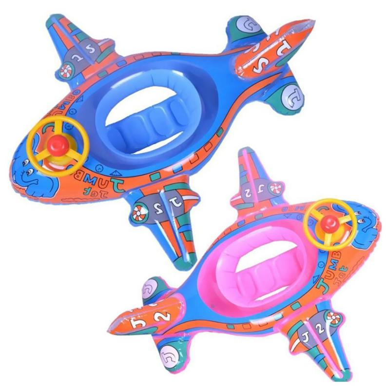 Baby Kids Float Seat Boat Inflatable Swimming Ring Cartoon Plane-shaped Float Circle Summer Water Play Toys For Children
